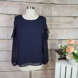 Lucca Couture Women's Long Sleeve Slit Shoulder Ruffle Top Navy Small